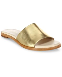 Anica Metallic Leather Slide Sandals
