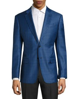 Gingham Checked Regular-fit Wool Blazer