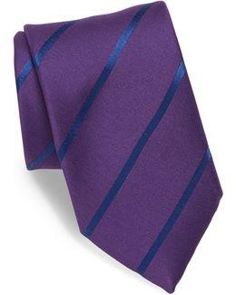 Striped Silk & Linen Blend Tie