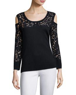 Partial Floral Lace Burnout Silk Blend Cold Shoulder Top