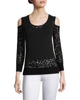 Lace Burnout Cold-shoulder Top