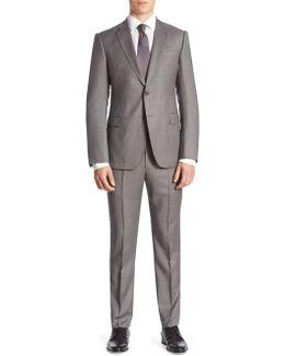 M Line Pinstripe Wool Suit