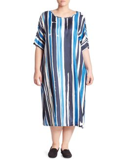 Silk Twill Striped Midi Dress