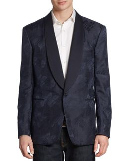 Anthony Classic-fit Palm Leaf Silk Jacquard Tuxedo Jacket