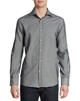 Textured Cotton Casual Button Down Shirt