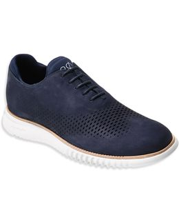 2.zerogrand Laser-cut Wingtip Leather Oxfords