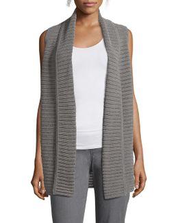 Mixed Stitch Shawl Collar Vest