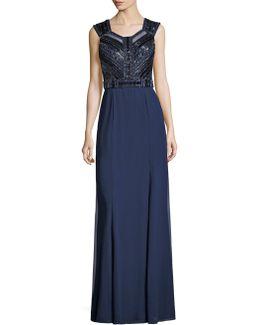 Beaded V-back Gown