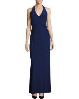 Embellished Halter Gown