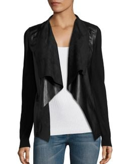 Leather Drape Front Cardigan
