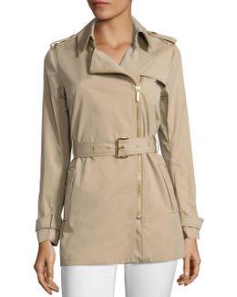 Zip Front Trench Coat