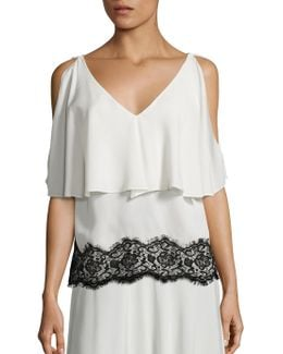 Silk Lace Cold Shoulder Top