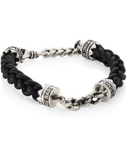Sterling Silver Chain & Braided Leather Lanyard Bracelet