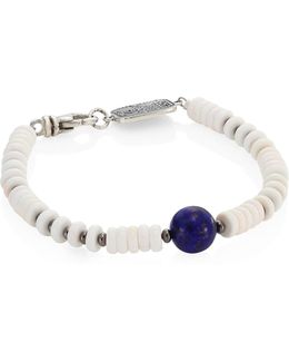 Sterling Silver, Round Lapis & White Shell Bead Bracelet