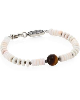 Sterling Silver, Round Tiger Eye & White Shell Bead Bracelet