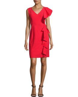 Scuba Asymmetrical Ruffle Dress