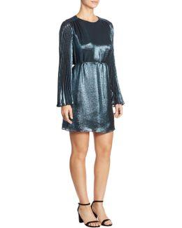 Silk Pleated Sleeve Dress