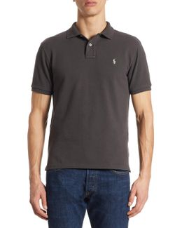 Slim Fit Weathered Mesh Polo