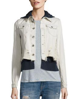 Layered Distressed Denim Jacket