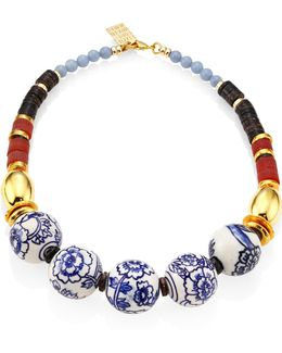 The New Blue Iii Porcelain, Angelite & Agate Beaded Necklace