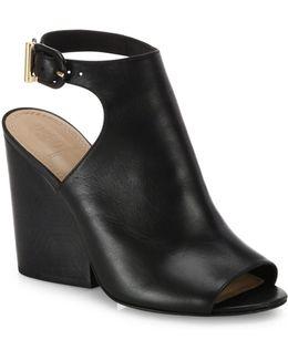 Grove Open-toe Leather Wedge Booties
