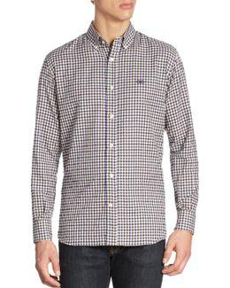 Textured Gingham Button-down Shirt