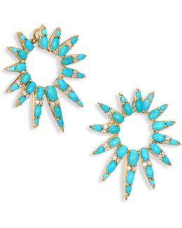 Spectrum Diamond & Turquoise Hoop Earrings/1.5