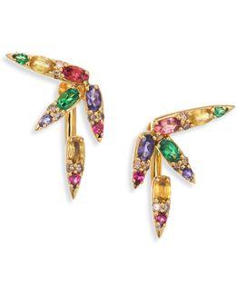 Spectrum Brown Diamond, Tsavorite, Iolite, Pink Tourmaline, Yellow Beryls & Rhodolite Ear Jacket