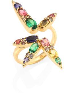 Spectrum Brown Diamond, Tsavorite, Iolite, Pink Tourmaline, Yellow Beryls & Rhodolite Ring