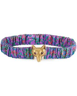 Printed Satin Fox-buckle Belt