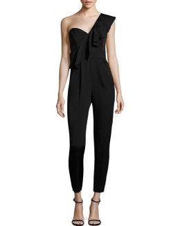 One Shoulder Ruffled Silk-blend Jumpsuit