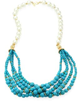 Faux Pearl & Turquoise Multi-strand Necklace