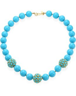 Large Faux-turquoise Beaded Necklace
