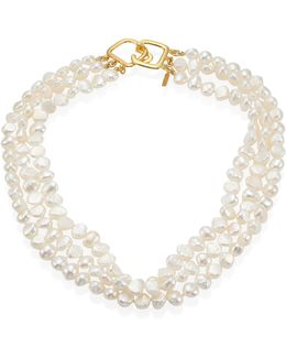6mm White Baroque Cultured Freshwater Pearl Multi-strand Necklace