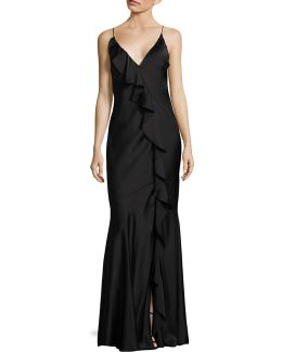 Ruffle Open-back Gown