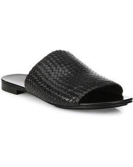 Byrne Woven Leather Slides