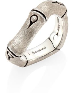 Bamboo Brushed Sterling Silver Curved Band Ring