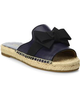 Hawn Bow Leather Espadrille Slides