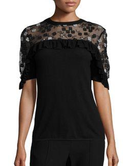 Flora Ruffled Applique Merino Wool Sweater