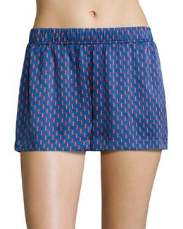 Patterned Silk Pajama Shorts