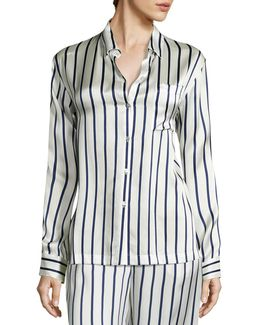 Striped Silk Pajama Top