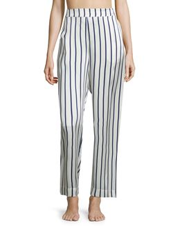 Striped Silk Satin Pajama Pants