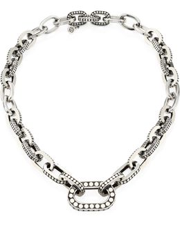 Dot Sterling Silver Graduated Link Necklace