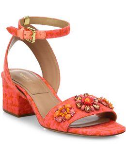 Sam Jeweled Jacquard Block Heel Sandals
