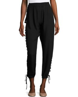 Heather Side Lace-up Pants