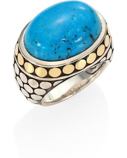 Dot Turquoise, 18k Yellow Gold & Sterling Silver Dome Ring