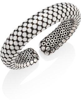 Dot Small Sterling Silver Flex Cuff/white