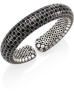 Dot Small Sterling Silver Flex Cuff/black