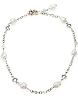 Legends Naga 11-12mm White Baroque Pearl, Moonstone & Sterling Silver Station Necklace