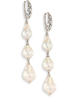 Legends Naga 8-11mm White Baroque Pearl & Sterling Silver Dangle Drop Earrings
